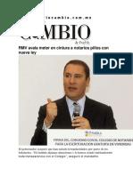 23-11-2015 Diario Matutino Cambio - RMV Avala Meter en Cintura a Notarios Pillos Con Nueva Ley