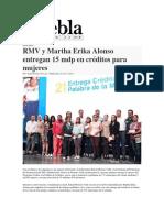 24-411-2015 PueblaOnLine.com -RMV y Martha Erika Alonso Entregan 15 Mdp en Créditos Para Mujeres