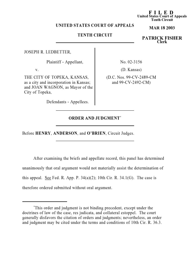 Ledbetter v. Topeka, Kansas, 10th Cir. (2003) | Appeal | Lawsuit