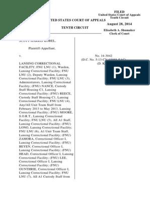 Kobel v  Lansing Correctional Facility, 10th Cir  (2014