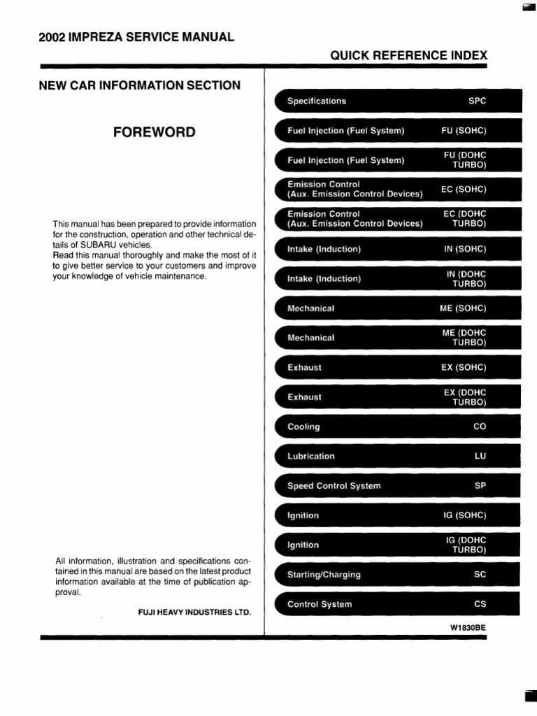 subaru impreza 2002 service manual throttle fuel injection rh scribd com 2002 subaru impreza outback sport service manual 2002 subaru forester service manual pdf