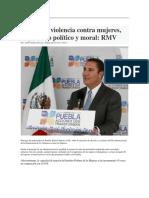 26-11-2015 Puebla on Line - Erradicar Violencia Contra Mujeres, Imperativo Político y Moral; RMV