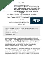 United States v. Mary Frances Bennett, 930 F.2d 35, 10th Cir. (1991)