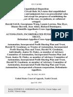Harold Sage, Georgianna Wong, Lonnie Lawton, Mae Dyer, Dianne Berroth, Jean Alden, Richard Dominguez, Plaintiffs-Appellants-Cross-Appellees v. Automation, Incorporated Pension Plan and Trust, Defendant-Appellee-Cross-Appellant, and Automation, Incorporated Profit Sharing Plan and Trust, Harold M. Goodman, as Trustee of Automation, Incorporated Profit Sharing Plan and Trust, Harold M. Goodman, Individually, Janice M. Finley, as Member of Advisory Committee of Automation, Incorporated Pension Plan and Trust, Janice M. Finley, as Member of Advisory Committee of Automation, Incorporated Profit Sharing Plan and Trust, Harold M. Goodman, as Member of Advisory Committee of Automation, Incorporated Profit Sharing Plan and Trust, Automation, Incorporated a Kansas Corporation, 931 F.2d 900, 10th Cir. (1991)