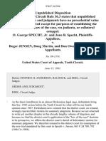 O. George Specht, Jr. And June B. Specht v. Roger Jensen, Doug Martin, and Don Owens, 936 F.2d 584, 10th Cir. (1991)
