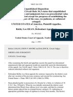 United States v. Bobby Lee Dean, 940 F.2d 1539, 10th Cir. (1991)