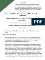 Irina Volkova, Alisa Gandina and Natalia Volkova v. Immigration & Naturalization Service, 36 F.3d 1106, 10th Cir. (1994)