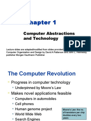 Chapter 1 Computer Abstractions And Technology Central Processing Unit Computer Memory