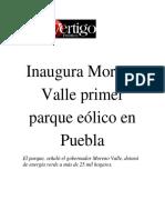 30-11-2015 Vértigo Político - Inaugura Moreno Valle Primer Parque Eólico en Puebla