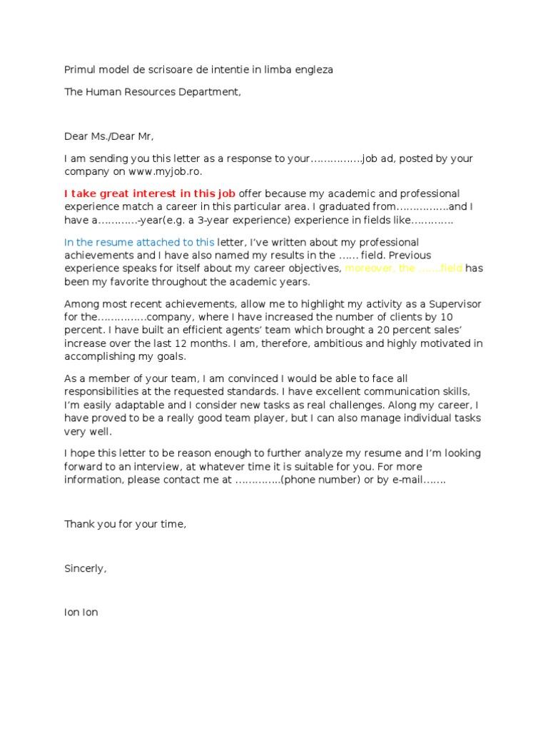 scrisoare intentie internship psychology cognitive science