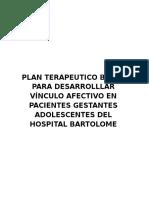 Plan Terapeutico Breve Para Desarrolllar Vínculo Afectivo en Pacientes Gestantes Adolescentes Del Hospital Bartolome
