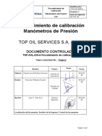 TOS-CAL-038-A Procedimiento de calibración Manometros de  Presion