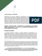 Carta Circular 12-2015-2016 NORMAS Y POLÍTICA SOBRE LA ADQUISICIÓN Y EL DESARROLLO DE SISTEMAS, EQUIPO TECNOLÓGICO Y EL USO DE LA TECNOLOGÍA INFORMÁTICA EN EL DEPARTAMENTO DE EDUCACIÓN