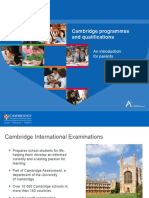 Cambridge Programmes and Qualifications an Introduction for Parents