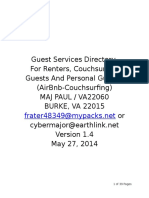 Major Paul's Guest Services Directory Guide For Couchsurfers, AirBnB and Personal Guests at 'Finn-Land' in Burke, VA Version 1.4 Dated 27-May-2014 Address Redacted for Operational Security