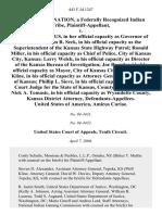Wyandotte Nation v. Sebelius, 443 F.3d 1247, 10th Cir. (2006)