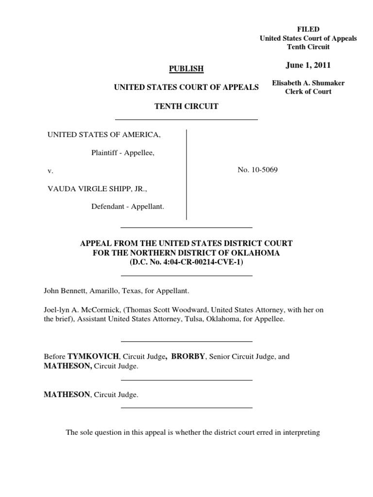 United States v  Shipp, 644 F 3d 1126, 10th Cir  (2011) | Armed