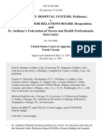 St. Anthony Hospital Systems v. National Labor Relations Board, and St. Anthony's Federation of Nurses and Health Professionals, Intervenor, 655 F.2d 1028, 10th Cir. (1981)