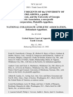 The Board of Regents of the University of Oklahoma, a Public Body Corporate, and the University of Georgia Athletic Association, a Non-Profit Corporation v. National Collegiate Athletic Association, 707 F.2d 1147, 10th Cir. (1983)