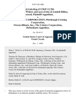 prod.liab.rep.(cch)p 12,706 Irlene Dillon, Widow and Next of Kin of Lindell Dillon, Deceased v. Fibreboard Corporation, Pittsburgh-Corning Corporation, Owens-Illinois, Inc., the Celotex Corporation, 919 F.2d 1488, 10th Cir. (1990)