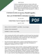 United States v. Jim Lyle Overstreet, 962 F.2d 18, 10th Cir. (1992)