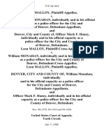 Leon Malloy v. Officer William Monahan, Individually and in His Official Capacity as a Police Officer for the City and County of Denver, and Denver, City and County Of, Officer Mark F. Haney, Individually and in His Official Capacity as a Police Officer for the City and County of Denver, Leon Malloy, Plaintiff-Cross-Appellant v. William Monahan, Individually and in His Official Capacity as a Police Officer for the City and County of Denver, Defendant-Cross-Appellee. Leon Malloy v. Denver, City and County Of, William Monahan, Individually and in His Official Capacity as a Police Officer for the City and County of Denver, and Officer Mark F. Haney, Individually and in His Official Capacity as a Police Officer for the City and County of Denver, 73 F.3d 1012, 10th Cir. (1996)