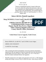 Robert Hicks v. Doug Nichols, Creek County Sheriff, and Creek County Board of County Commissioners George Elliott, Deputy Sheriff Ron Powers, Deputy Sheriff Other Unknown Deputies of the Creek County Sheriff's Office, 104 F.3d 367, 10th Cir. (1996)