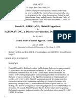 Donald L. Kirkland v. Safeway Inc., a Delaware Corporation, 153 F.3d 727, 10th Cir. (1998)