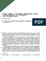Notas sobre a economia Brasileira desde a Proclamação da República até os nossos dias.