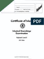 Musical Examination 2001