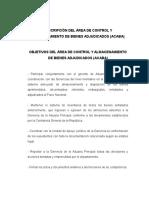 Descripción Del Área de Control y Almacenamiento de Bienes Adjudicados