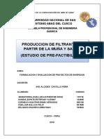 Produccion de Filtrantes