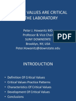 Critical Values Are Critical to the Laboratory _Howanitz