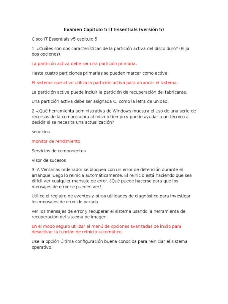 Examen Capitulo 5 IT Essentials