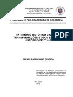 Patrimônio Histórico-cultural_ Transformações e Usos Do Centro Histórico de Itu-sp