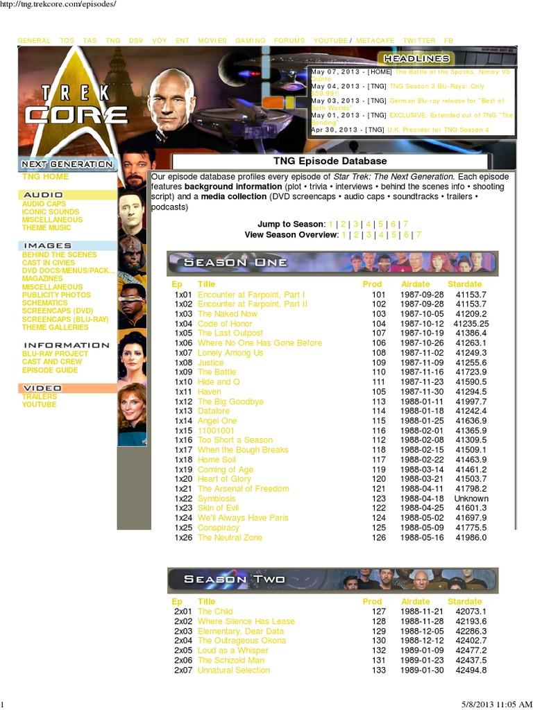 List Episodes 02 Sttng | Star Trek: The Next Generation | Star Trek