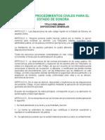Código Procedimientos Civiles Sonora