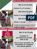 CIERRE POR LIMPIEZA EXTRA DEL EDIFICIO EN JULIO 2016