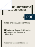 Report Special Lib Research Institutional Libraries