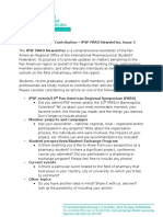 IPSF PARO Newsletter, Issue 3 - Call for Article Contribution