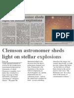 Clemson astronomer sheds light on stellar explosions, Nov. 13, 2003