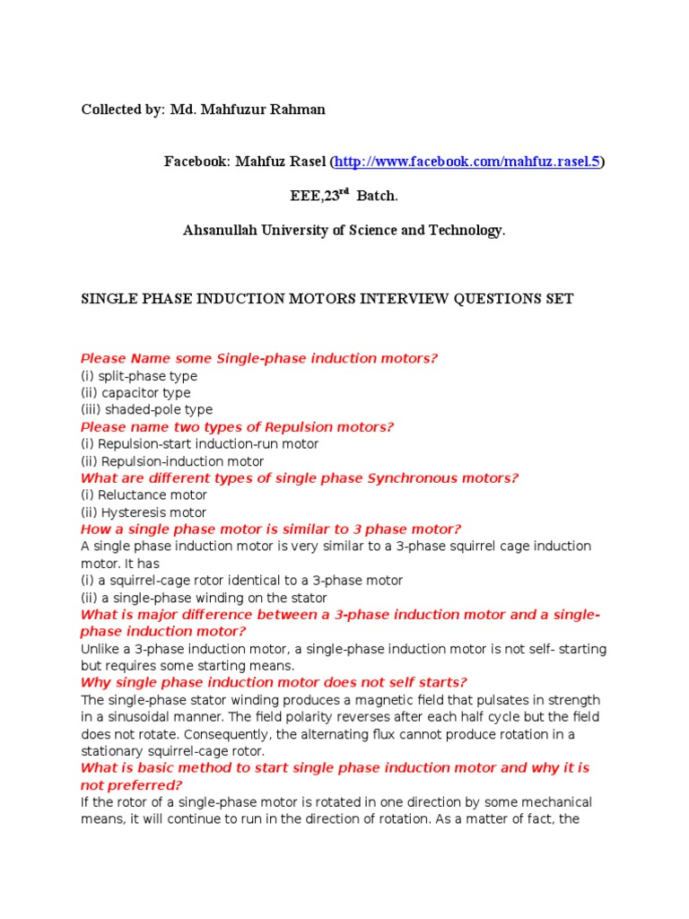 Elegant (Single+Three )PHASE INDUCTION MOTORS INTERVIEW QUESTIONS SET (1)    Transformer   Electromagnetic Induction