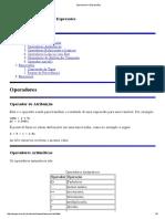 Operadores e Expressões Para Linguagem C