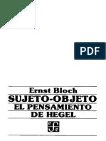 Bloch-Sujeto Objeto El Pensamiento de Hegel