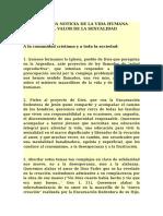 LA BUENA NOTICIA de LA VIDA HUMANA-Comisión Ejecutiva de La Conferencia Episcopal Argentina