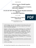 United States of America, and Antonucci, and United Mineworkers of America, Intervenors-Appellees v. State of New Mexico and the Hospitals Institutions Board, 536 F.2d 1324, 10th Cir. (1976)