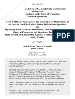 Western Nuclear, Inc., a Delaware Corporation, Authorized and Doing Business in the State of Wyoming v. Cecil Andrus, Secretary of the United States Department of the Interior, and the United States, and Wyoming Stock Growers Association, John Orr and Associated General Contractors of Wyoming, Intervenors. State of Utah and Associated General Contractors of Wyoming, Amici Curiae, 664 F.2d 234, 10th Cir. (1981)