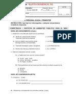 Examen Mensual de Personal Social Julio 3er Grado