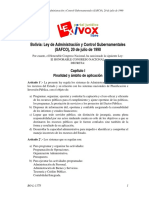 Bolivia Ley de Administración y Control Gubernamentales (SAFCO), 20 de Julio de 1990_BO-L-1178