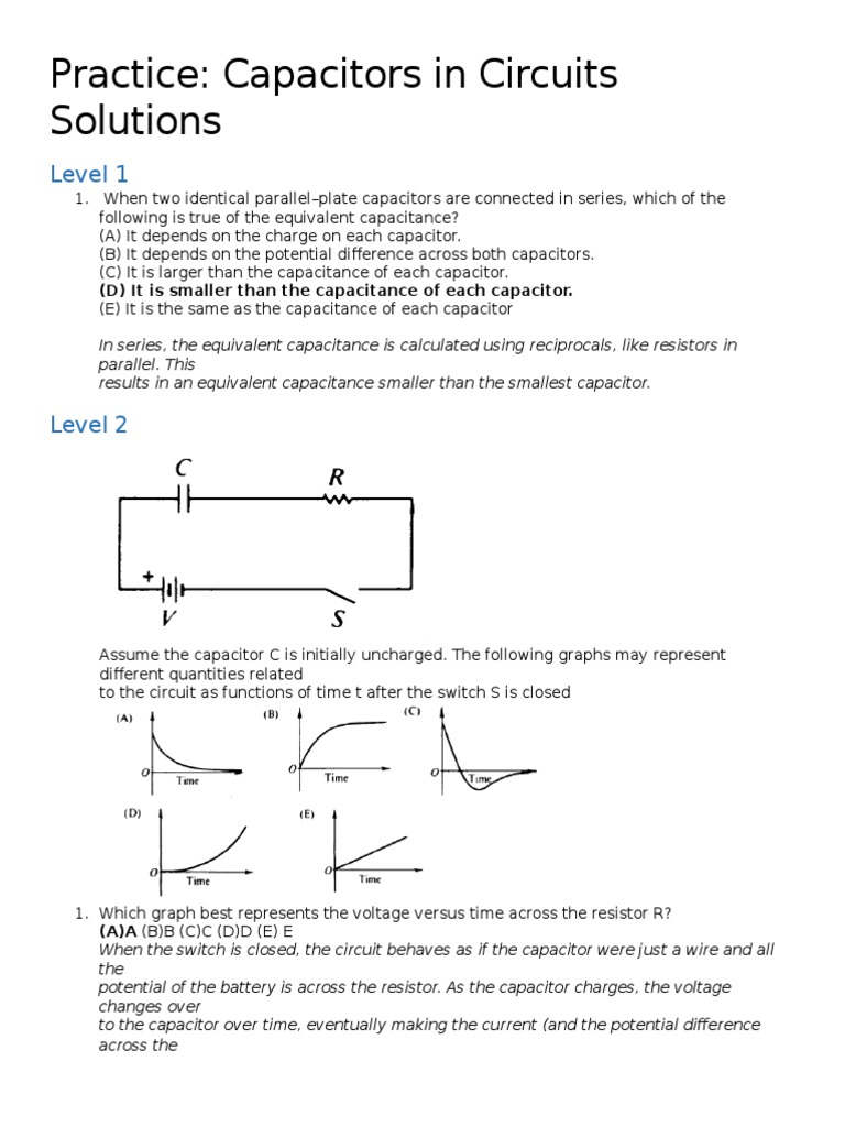 Practice Capacitors In Circuits Solutions Series And Parallel Capacitor Charge Circuit